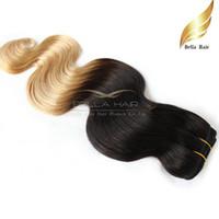 tremper colorant cheveux trame achat en gros de-Cheveux indiens tisse 100g / PC Extensions de cheveux Trame Ombre Dip Dye Dye Couleur Deux Tons # T1B / # 27 Couleur 14