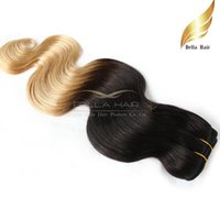 """Wholesale Dyed Hair Weave - Indian Hair Weaves 100g PC Hair Extensions Weft Ombre Human Hair Dip Dye Two Tone #T1B #27 Color 14""""-26""""Body Wave Bellahair 7A"""