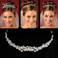 bling crowns toptan satış-Yeni Ucuz Taçlar Saç Aksesuarı Olmadan Rhinestone Jewels Pretty Taç Taç Tiara Hairband Bling Bling Düğün Aksesuarları JA494