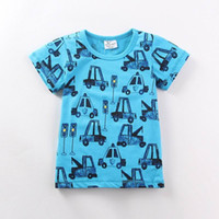 Wholesale Brand New Trucks - 2016 Summer New Boy T-shirts Children Truck Print Blue Cartoon Cotton Fashion Short Sleeve T-shirts 1-6T 6495