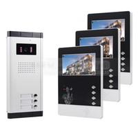 gegensprechanlagen großhandel-DIYSECUR 4,3 zoll Video-türsprechanlage Wired Apartment Audio-visuelle Gegensprech Entry System IR Kamera für 3 Familien