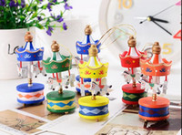 Wholesale toy carousels - Merry Christmas Wood Carousel Horse Ornaments,Mini Beautiful Wooden Xmas Children Gift Toys,New Year Christmas Gifts Pendant