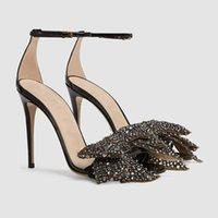robes mary jane achat en gros de-Cristal amovible Bowtie Gladiateur Sandales Femmes été en cuir verni à talons hauts Pompes noir bride à la cheville robe de mariage Mary Jane chaussures