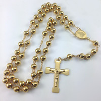 Wholesale gold rosary cross - Fashion Jewelry Stainless Steel Rosary Necklace ,Virgin Cross Of Jesus Pendant Necklaces ,Heavy Gold Color Hip Hop Men Jewelry