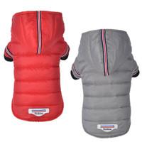ücretsiz ipek kıyafetler toptan satış-Kış Sıcak Köpek Mont Rüzgar Geçirmez Evcil Köpek Aksesuarları Pamuk Ipek Yastıklı Güzel Evcil Giyim Ceketler Ücretsiz Nakliye 5 Boyutu 2 Bacaklar