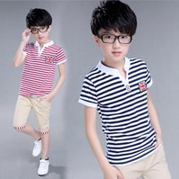 Wholesale Boys Stripe Collared Shirts - Summer kids clothes suit stripe T-shirt+short pants 2 pieces suit boys flag pattern clothes sets 100% cotton for 8~16Y kids