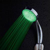 Wholesale Shower Head Sprinkler - Free Shipping 3 RGB Colors LED Shower Temperature Sensor Control Romantic Lights Bathroom Shower Head Sprinkler Light