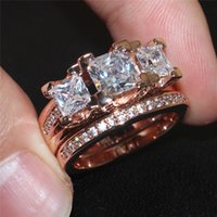 Wholesale Simulated Diamond Rose Gold - Luxury Lady's 925 Sterling Silver Rose gold Square Simulated Diamond CZ Paved Stone 2 Statement Wedding Band Ring Sets Jewelry for Women