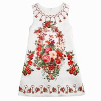 Wholesale Thick Tutu - 2016 Summer Girl Dress Key Floral Thick Cotton Dress Girl Fashion Sundress Children Clothing 3-10T 1606