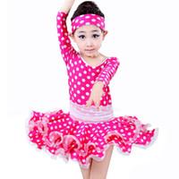 Wholesale Latin Dresses For Children - Latin Dance Dress For Girls Dot Rose Blue Kids Dance Costume Dress&Hair Band Children Latin Dance Dresses Long Sleeve Dancewear