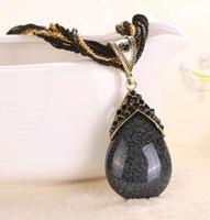 bestellen diamond china großhandel-Chinesische nationale Art-Schmuck-Teardrop-hängende Halsketten mit CZech Diamant-Rhinestone-Korn und Seil-Kette 16colors Mischungsauftrag