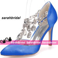 Wholesale Cheap Strap Sandal Heels - Royal Blue Wedding Bridal Shoes For Brides Bridesmaids Pointed Toe Cheap Ladies Evening Party Prom Dress Rhinestone Crystals Pumps Sandals