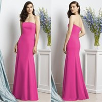 Wholesale Dessy Bridesmaids - Hot Pink Satin Bridesmaids Dresses for Cheap Strapless Mermaid Long Floor Length Simple Dessy Bridesmaid Gowns