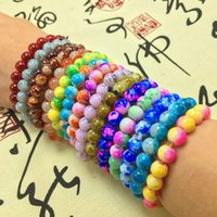 Wholesale bracelets stone alloy for sale - Group buy Charm bracelet Handmade Natural Stone Stretch Elastic Glass Beads Charm Bracelets Women Fashion Jewelry Gifts Crystal Glass Beads Bracelets
