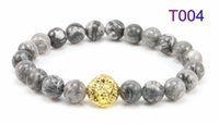 Wholesale Mens Black Beaded Chain - Zenger Natural stone bracelet 2016 Excellent affordable 316L stainless steel genuine leather mens jewelry 18K gold Lion head Alloy bracelet