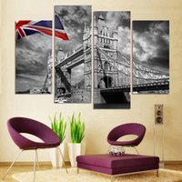 модное настенное искусство оптовых-Fashion 4pcs lot Modern Wall Paintings bridge View Large Canvas Paintings Decorative Picture Wall Art Top Home Decoration