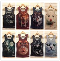 Wholesale Tank Top Undershirts Women - 3D Printed Animals Sport Vest Cool Men Women Summer Sleeveless Tank Tops Slim Undershirt 8 Styles OOA2744