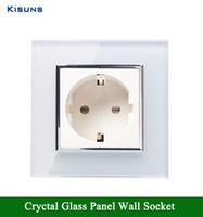 Wholesale Glass Sockets - Wholesale-NEW EU wall Socket EU Standard Power Socket White Crystal Glass Panel AC 110~250V 16A Wall Power Socket FreeShipping kisuns