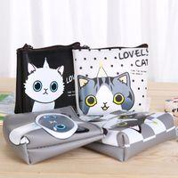 Wholesale Headset Key - Wholesale- 2pcs New Coin Purse Cartoon Cute Cat Waterproof PU Leather Package Headset Bag Mini Handbag Money key bag Free Shipping