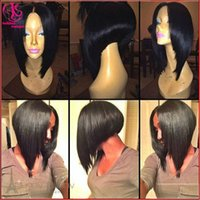 Wholesale Short Dark Blue Hair - Middle part 150% density Before long after short Bob wigs synthetic lace front wigs black wigs with baby hair heat resistant fiber