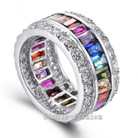 Wholesale Sterling Silver Gem Jewelry - Vecalon Women Fashion Jewelry ring 15ct Mutil Gem Cz diamond 925 Sterling Silver Engagement wedding Band ring for women Gift