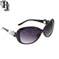 ingrosso occhiali da bottone-2016 New Fashion Black Retro ovale con bottone a pressione occhiali da sole all'aperto occhiali da sole oculos per le donne 5pcs / lots SJSB1672