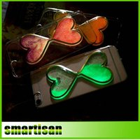 Wholesale Iphone Glow Cover - Brand New Dynamic Liquid Glitter Night Glow Love Heart Funda Clear Phone Cases Cover For iPhone 5 5G 5S 6 6G 6S 4.7 6Plus 5.5