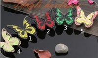 Wholesale green drawer knobs resale online - Green Pink Red Yellow Fluorescing butterfly vintage Zinc alloy door handle cabinet pull drawer knob pitch row mm