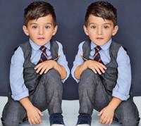 Wholesale Spring Male Outfits - Fashion Baby Boys Clothes Vest + Shirt + Tie + Pants 4 pcs Boys Sets Children's Clothing Handsome Male Kids Clothes Kids Suits Boys Outfits