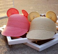 Wholesale Straw Hats Baseball Caps - Mouse ear Straw Hat Straw Baseball caps For Children 5 Colors Free Shipping