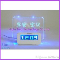 Wholesale Wholesale Advertising Clocks - USB LED Message Board Erasable Electronic Fluorescent Writing Board LED Advertising Board Whiteboards with alarm clock