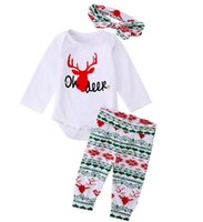 Wholesale Zebra Headband Bow - 2017 Infant Xmas Deer spring winter romper tops & baby ins Pants & infant flower bow headband 3pcs Baby Outfits Set 0-2year