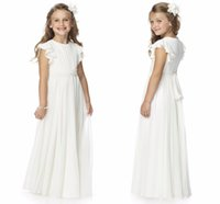 Wholesale beauty pageants resale online - 2020 Simple Ruffles Flutter Ruched Chiffon Beauty Pageant Flower Girl Dress Toddler Junior Girl Dress With Sash And Bow HY1201