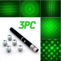 Wholesale Green Ray Beam Laser Pointer - 3PC 6in1 Green Laser 532nm 5MW Ray Beam Light Laser Pointer Pen Puntero laser Presenter 6 Lazer Patterns + Star Caps