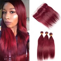 Wholesale Wine Red Color Hair - Brazilian Burgundy Virgin Hair With Lace Frontal Closure With Bundles Color 99J Wine Red Straight Hair Weaves With Lace Frontal
