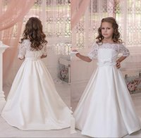 Wholesale Half Jackets Girls - Lovely Vintage Flower Girl Dresses 2016 with Sheer Lace Applique Half Sleeve Jacket Cute A Line Backless Long Satin Children Wedding Gowns