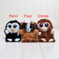 Wholesale Cute Animals Big Eyes - 3pcs set Ty Peek A Boos Phone Holder with Screen Cleaner Bottom Plush toys Animals Penguin penni Monkey chimps Dog pups Cute Big Eyes Toys