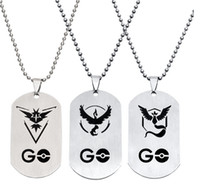 Wholesale Wholesale Team Logo Necklace - Poke go team stainless steel necklace POKE go ball camp team logo valor mystic instinct chain pendent necklaces pocket monster jewelry gifts