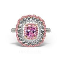 joyería de forma de diamante al por mayor-Joyería de lujo superior hecha a mano de 18 quilates de oro blanco relleno forma de cojín rosa zafiro CZ piedras preciosas de diamante de las mujeres anillo de banda de la corona de boda