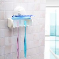 Wholesale Spinbrush Suction Holder - 2016 new Practical Toothbrush Spinbrush Holder Suction Stand Home Bathroom Accessory 5 Set Plastic free shipping
