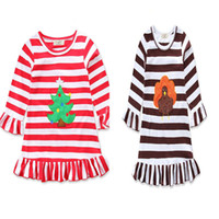 Wholesale Dresses Turkey Wholesalers - Baby girls Turkey Christmas tree dress cartoon Children stripe princess dresses Xmas Thanksgiving kids costume C2991