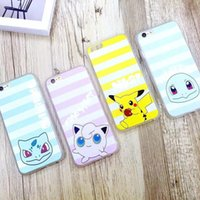 Neue Macaron Farbe Cartoon Poke TPU Streifen Pattern Handy Fall für IPhone6 ​​Iphone6Plus Soft Ultra Thin Pocket Monster Back Cover Typ