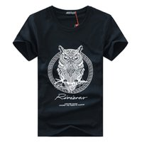 Wholesale Owl Neck - 2017 Hot men t-shirt summer style men tshirt with funny print men's tshirt homme cotton cartoon OWL T-shirt mens brand tee shirt