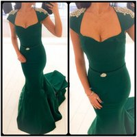 Wholesale Trumpet Cap Sleeve Formal Dresses - Long Evening Dress Mermaid Trumpet Style Cap Sleeve Women Formal Dresses Pearls Emerald Green Evening Dresses With Sweep Train