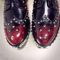 Wholesale Vintage Brogues - best version! u683 40 maroon white black patent leather studs brogue flats l luxury desinger shoes casual vintage classic 2017
