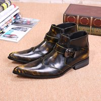 Plus Size 2017 New Genuine couro Formal Homem Ankle Boots Men's Pointed Toe Motocicleta Punk Rock Rubber Shoes Plus tamanho 46