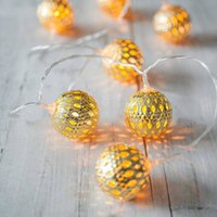LED Globe String Lights, con pilas 3M 30 LEDs Gold Moroccan para dormitorio, cortina, patio, césped, paisaje, Fairy Garden, Home