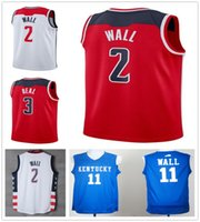 Wholesale College Style - 2017 2018 New Season #2 John Wall Jersey Latest Style White Red Cheap Mens College Blue John Wall Basketball Jerseys High Quality