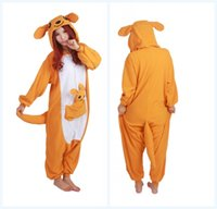 Wholesale Kangaroo Costume Sale - Hot Sale Lovely Cheap Kangaroo Kigurumi Pajamas Anime Pyjamas Cosplay Costume Adult Unisex Onesie Dress Sleepwear Halloween S M L XL