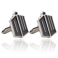 Wholesale Doctor Tardis Shirt - United Kingdom Television Doctor Who TARDIS Black Enamel Cufflinks For Mens Shirt Brand Cuff Buttons Top Grade Party Cuff Links 0903820-5
